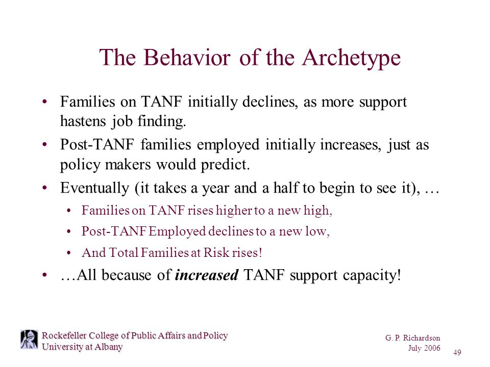 G. P. Richardson July 2006 49 Rockefeller College of Public Affairs and Policy University at Albany The Behavior of the Archetype Families on TANF ini