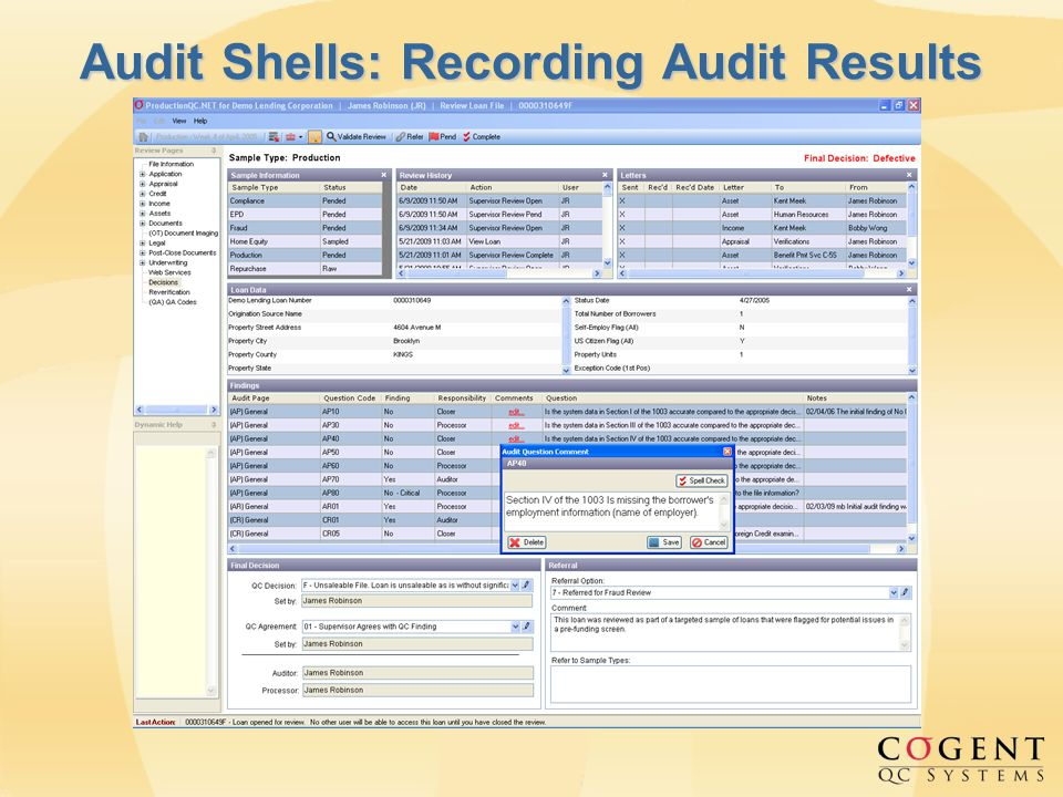 Audit Shells: Recording Audit Results