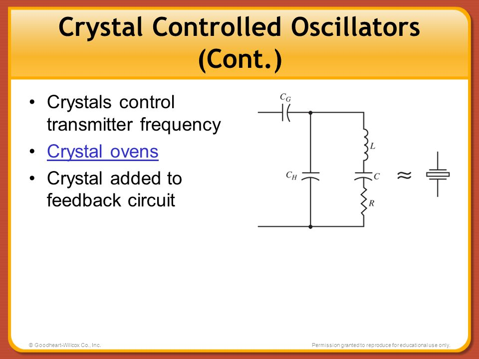 © Goodheart-Willcox Co., Inc.Permission granted to reproduce for educational use only. Crystal Controlled Oscillators (Cont.) Crystals control transmi