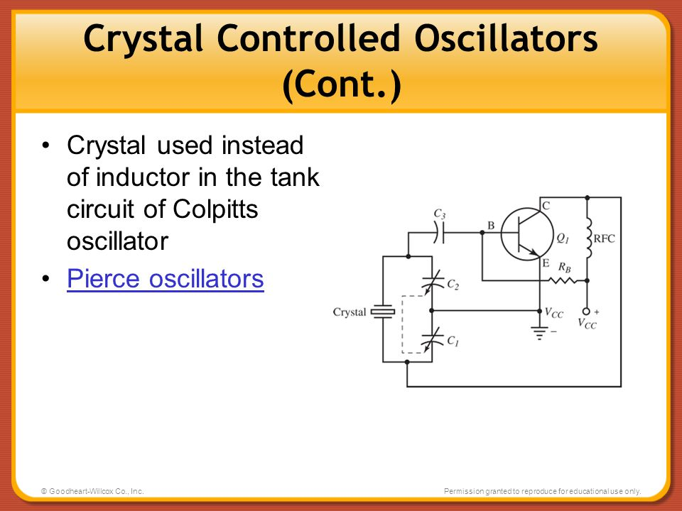© Goodheart-Willcox Co., Inc.Permission granted to reproduce for educational use only. Crystal Controlled Oscillators (Cont.) Crystal used instead of