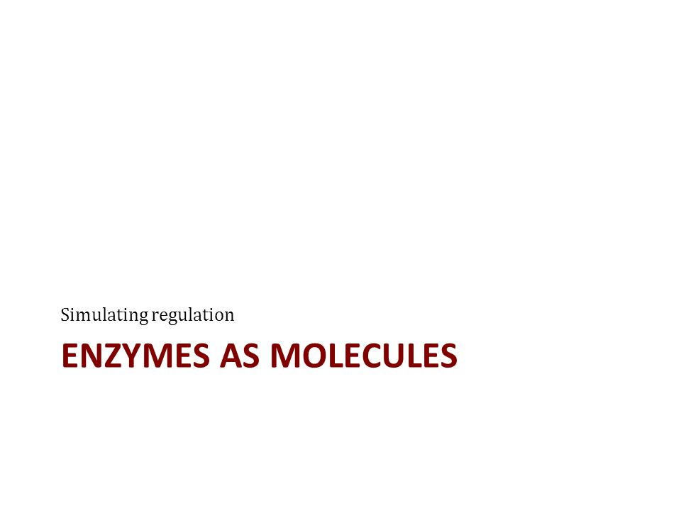 ENZYMES AS MOLECULES Simulating regulation