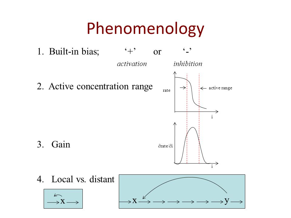Phenomenology 1. Built-in bias;+or- activation inhibition 2. Active concentration range 3.Gain 4.Local vs. distant active range rate rate/i i i x x y