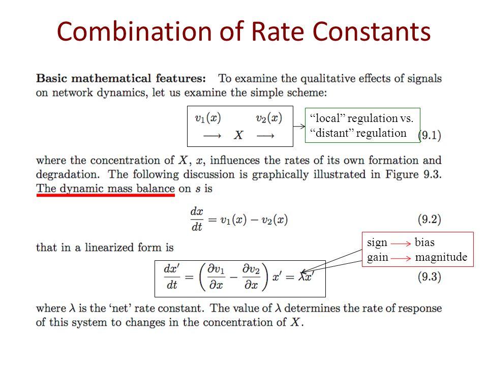 Combination of Rate Constants local regulation vs. distant regulation sign bias gain magnitude