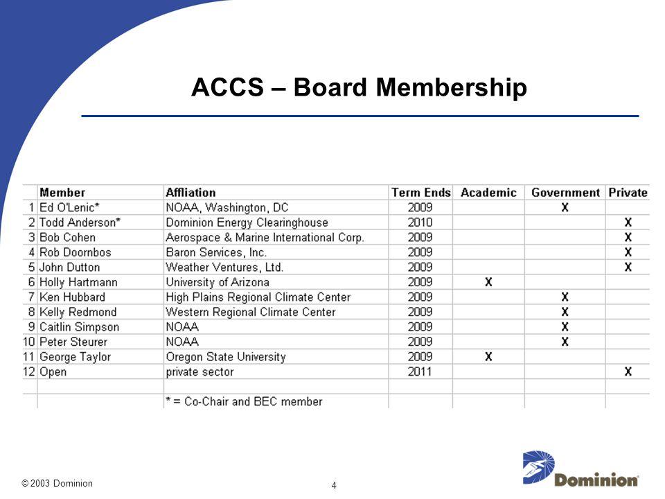 © 2003 Dominion 4 ACCS – Board Membership