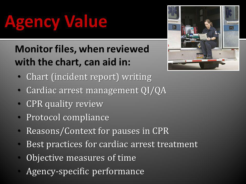 Chart (incident report) writing Chart (incident report) writing Cardiac arrest management QI/QA Cardiac arrest management QI/QA CPR quality review CPR