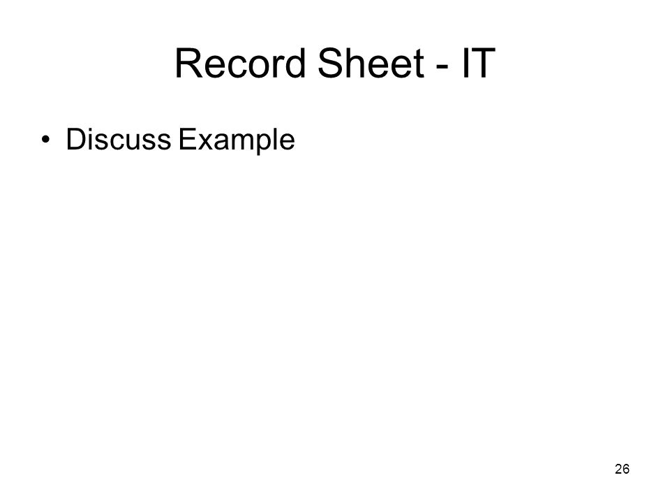 26 Record Sheet - IT Discuss Example