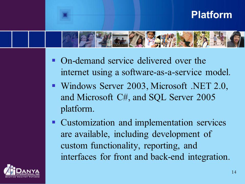 14 Platform On-demand service delivered over the internet using a software-as-a-service model. Windows Server 2003, Microsoft.NET 2.0, and Microsoft C