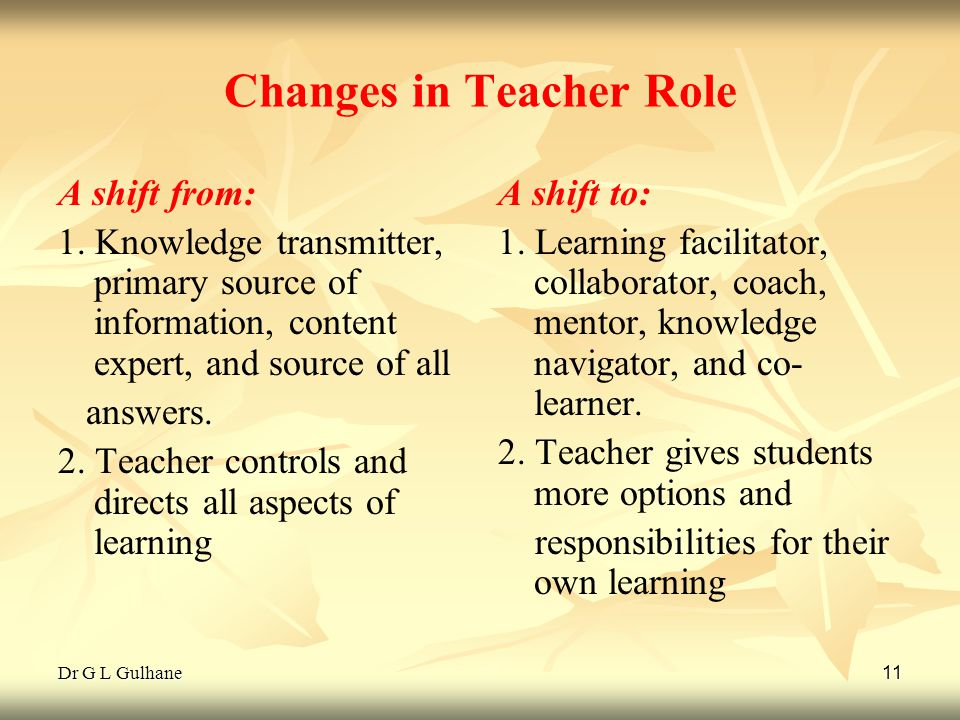 Dr G L Gulhane 11 Changes in Teacher Role A shift from: 1. Knowledge transmitter, primary source of information, content expert, and source of all ans