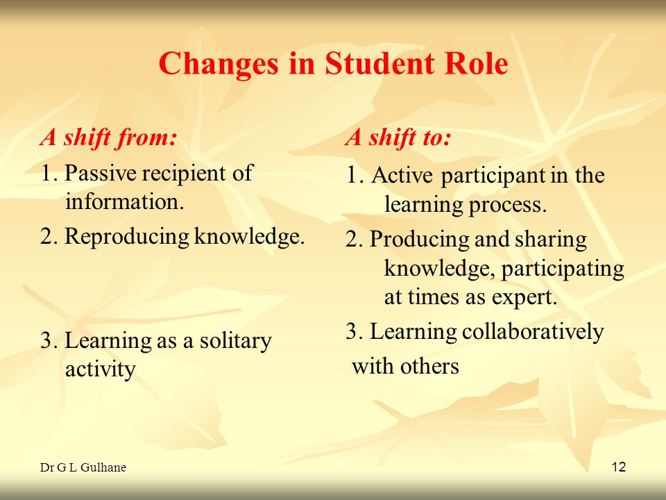 Dr G L Gulhane 12 Changes in Student Role A shift from: 1. Passive recipient of information. 2. Reproducing knowledge. 3. Learning as a solitary activ