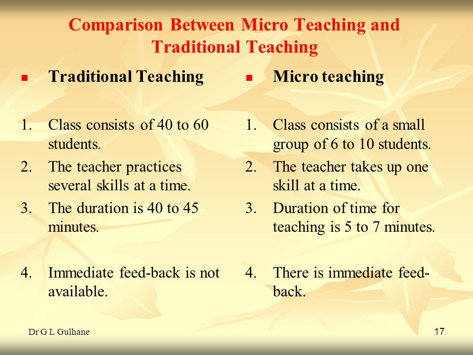 Dr G L Gulhane 17 Comparison Between Micro Teaching and Traditional Teaching Traditional Teaching 1. 1.Class consists of 40 to 60 students. 2. 2.The t