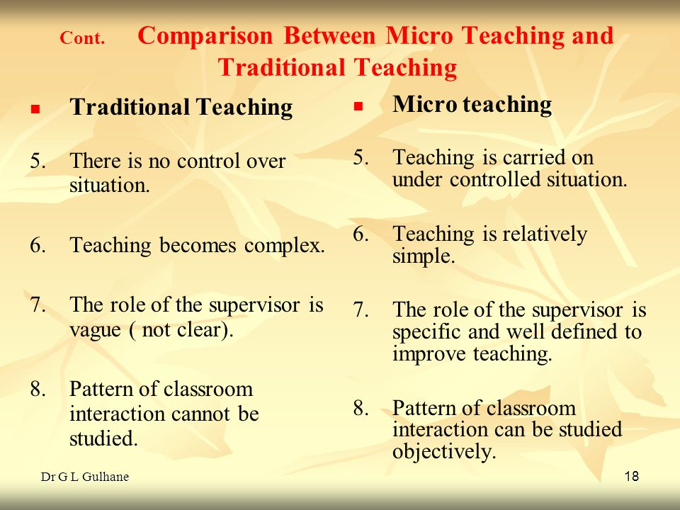 Dr G L Gulhane 18 Cont. Comparison Between Micro Teaching and Traditional Teaching Traditional Teaching 5. 5.There is no control over situation. 6. 6.