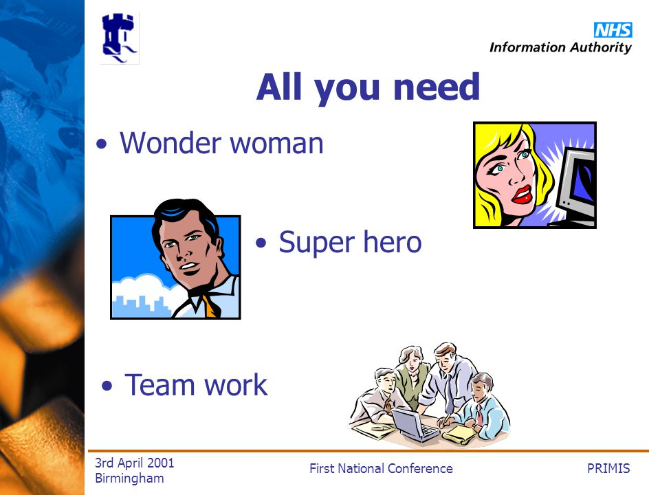 PRIMISFirst National Conference 3rd April 2001 Birmingham All you need Wonder woman Super hero Team work