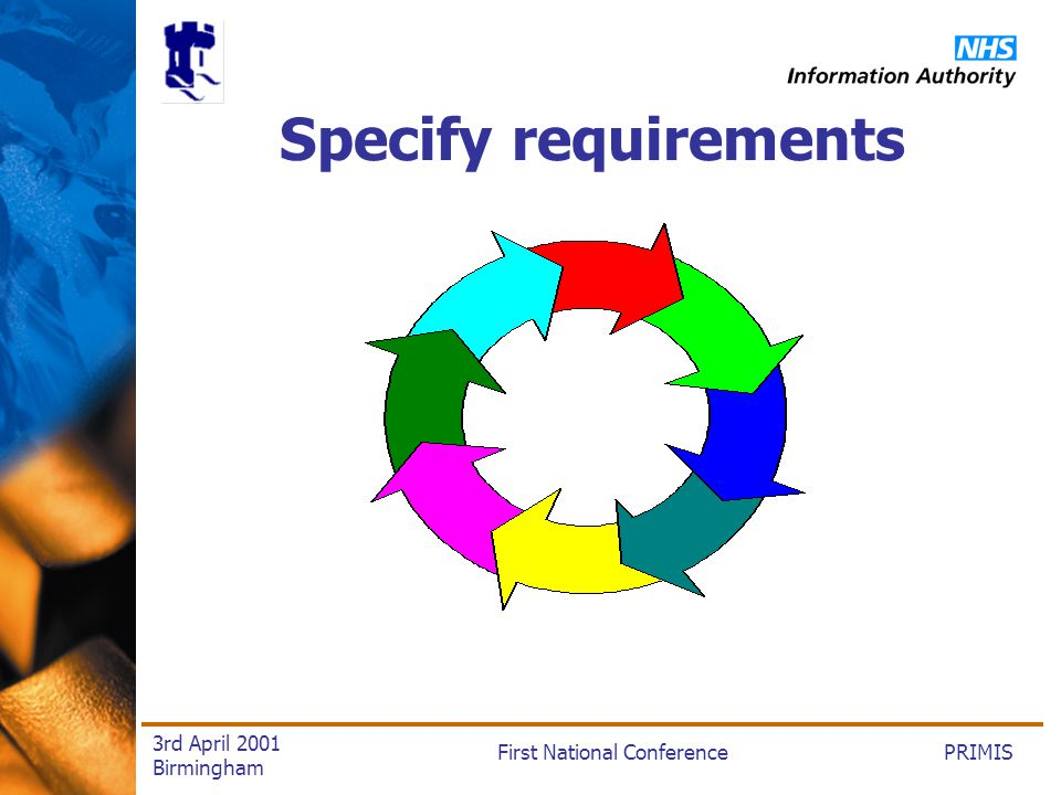 PRIMISFirst National Conference 3rd April 2001 Birmingham Specify requirements