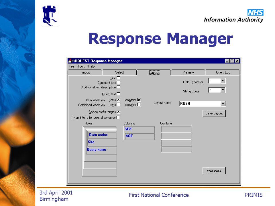 PRIMISFirst National Conference 3rd April 2001 Birmingham Response Manager