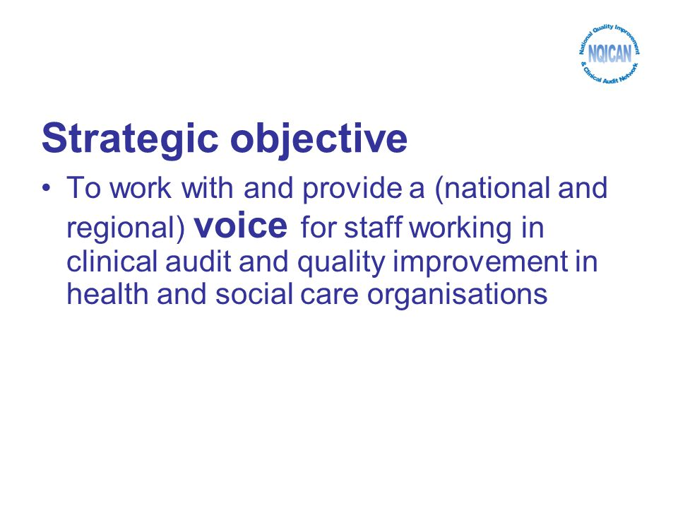 Strategic objective To work with and provide a (national and regional) voice for staff working in clinical audit and quality improvement in health and social care organisations