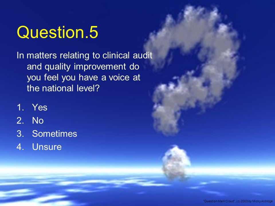 Question.5 In matters relating to clinical audit and quality improvement do you feel you have a voice at the national level.
