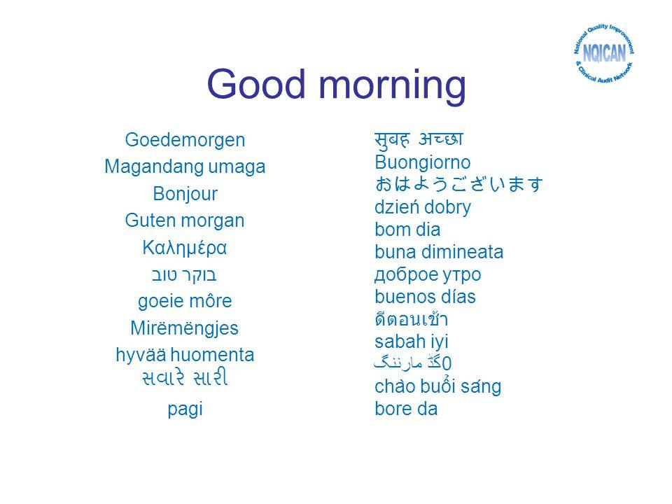 Good morning Goedemorgen Magandang umaga Bonjour Guten morgan Καλημέρα בוקר טוב goeie môre Mirëmëngjes hyvää huomenta pagi Buongiorno dzień dobry bom