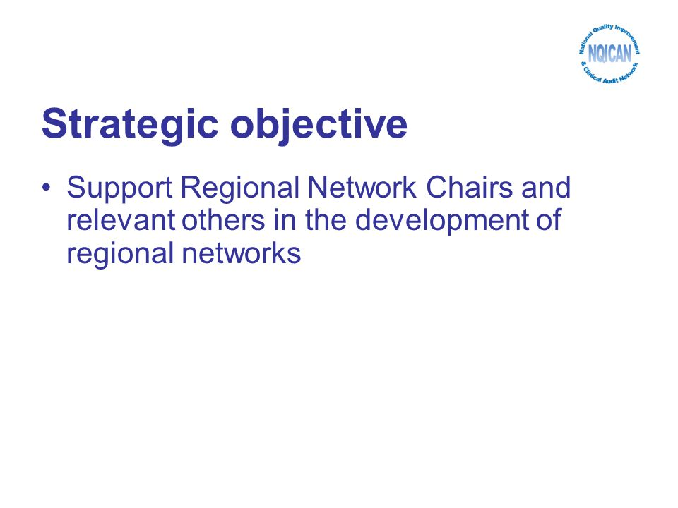 Strategic objective Support Regional Network Chairs and relevant others in the development of regional networks