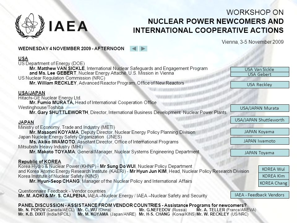 WORKSHOP ON NUCLEAR POWER NEWCOMERS AND INTERNATIONAL COOPERATIVE ACTIONS Vienna, 3-5 November 2009 WEDNESDAY 4 NOVEMBER 2009 - AFTERNOON USA US Depar