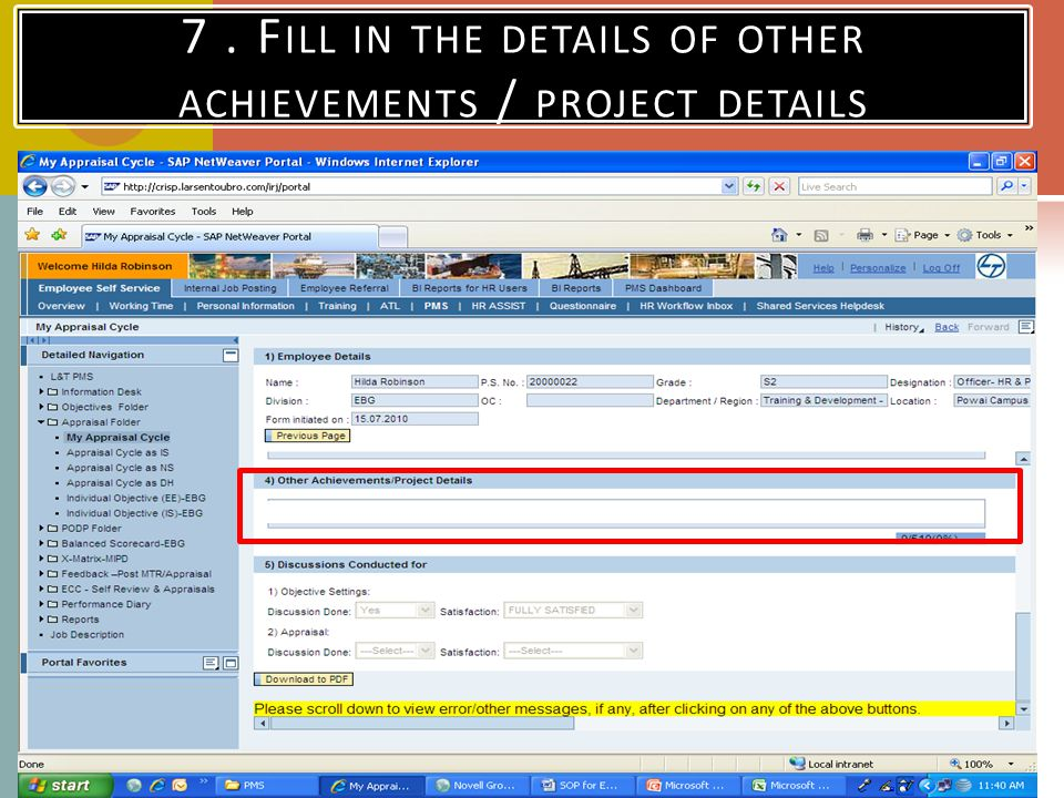 7. F ILL IN THE DETAILS OF OTHER ACHIEVEMENTS / PROJECT DETAILS