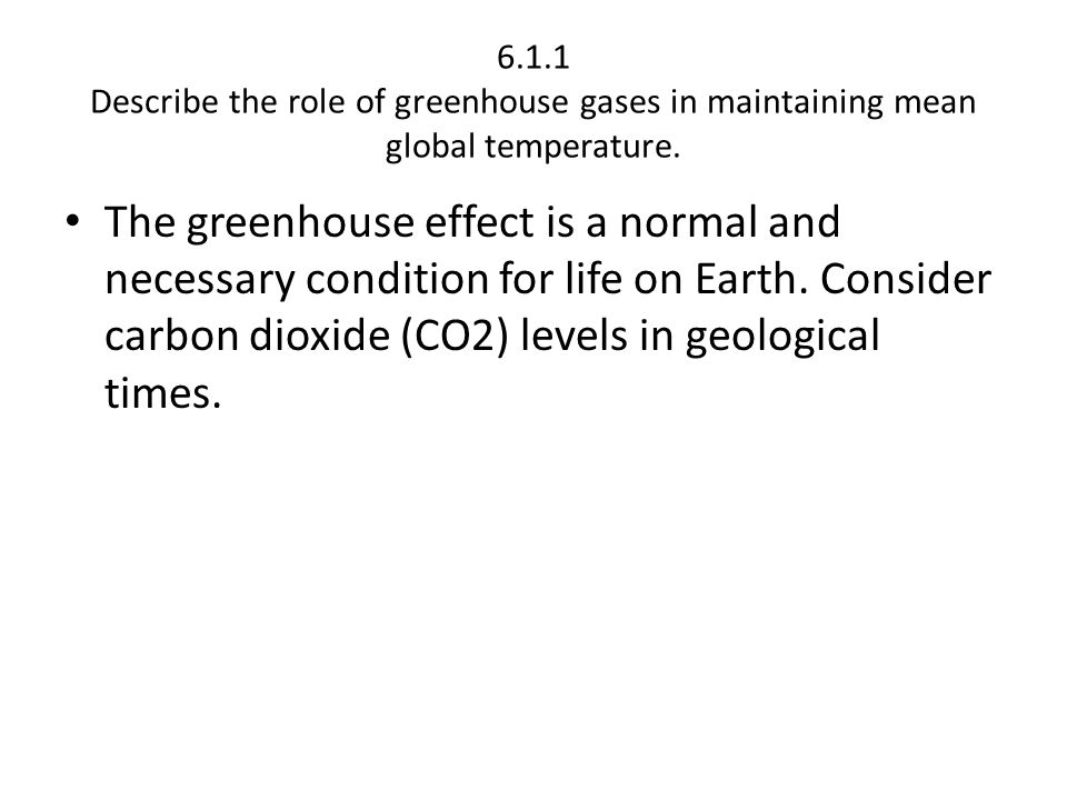 6.1.1 Describe the role of greenhouse gases in maintaining mean global temperature.