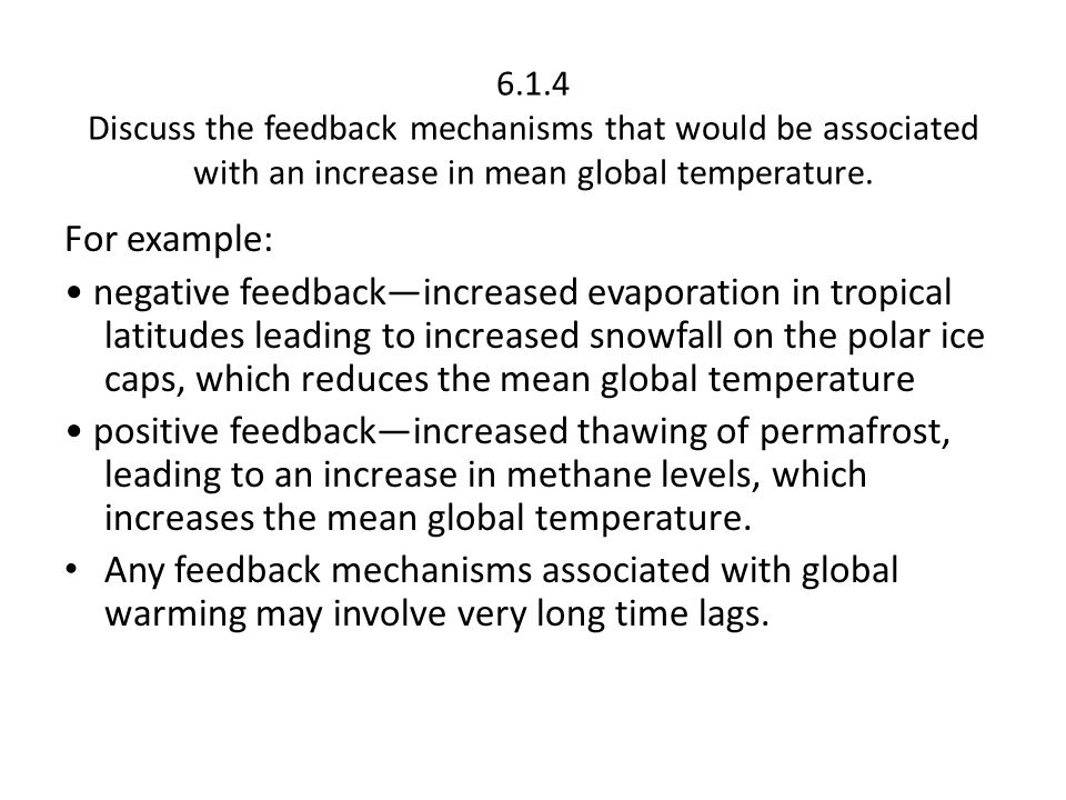 6.1.4 Discuss the feedback mechanisms that would be associated with an increase in mean global temperature.