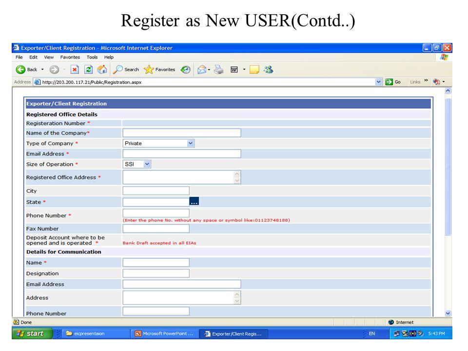 Register as New USER
