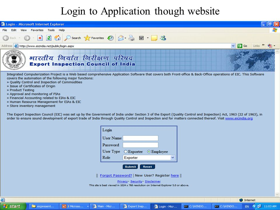 Procedure to Open Online Application and Feedback to EIC