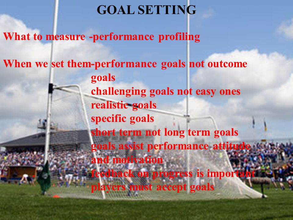 GOAL SETTING What to measure -performance profiling When we set them-performance goals not outcome goals challenging goals not easy ones realistic goa