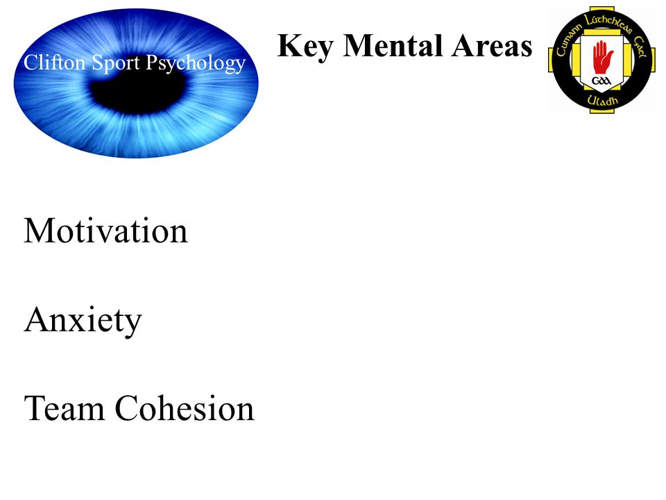 Clifton Sport Psychology Key Mental Areas Motivation Anxiety Team Cohesion