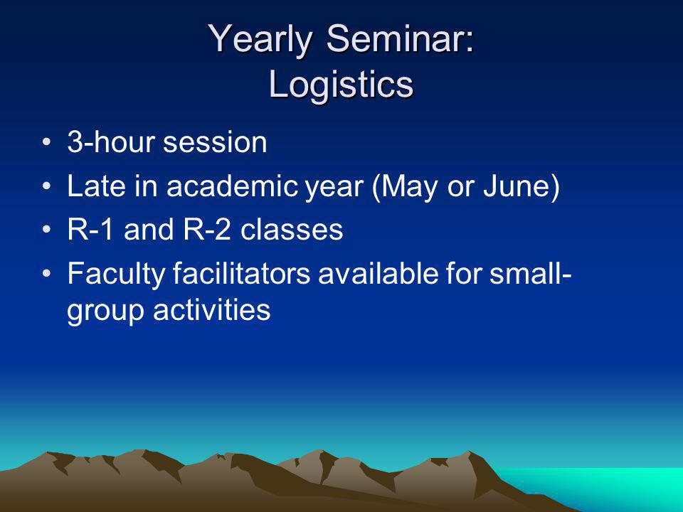Yearly Seminar: Logistics 3-hour session Late in academic year (May or June) R-1 and R-2 classes Faculty facilitators available for small- group activities