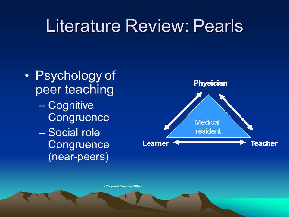 Literature Review: Pearls Psychology of peer teaching –Cognitive Congruence –Social role Congruence (near-peers) (Cate and Durning, 2007) Medical resident Physician Teacher Learner Medical resident Physician Teacher Learner Medical resident Physician TeacherLearner Physician Teacher Medical resident Physician Medical resident Learner Physician Medical resident TeacherLearner Physician Medical resident