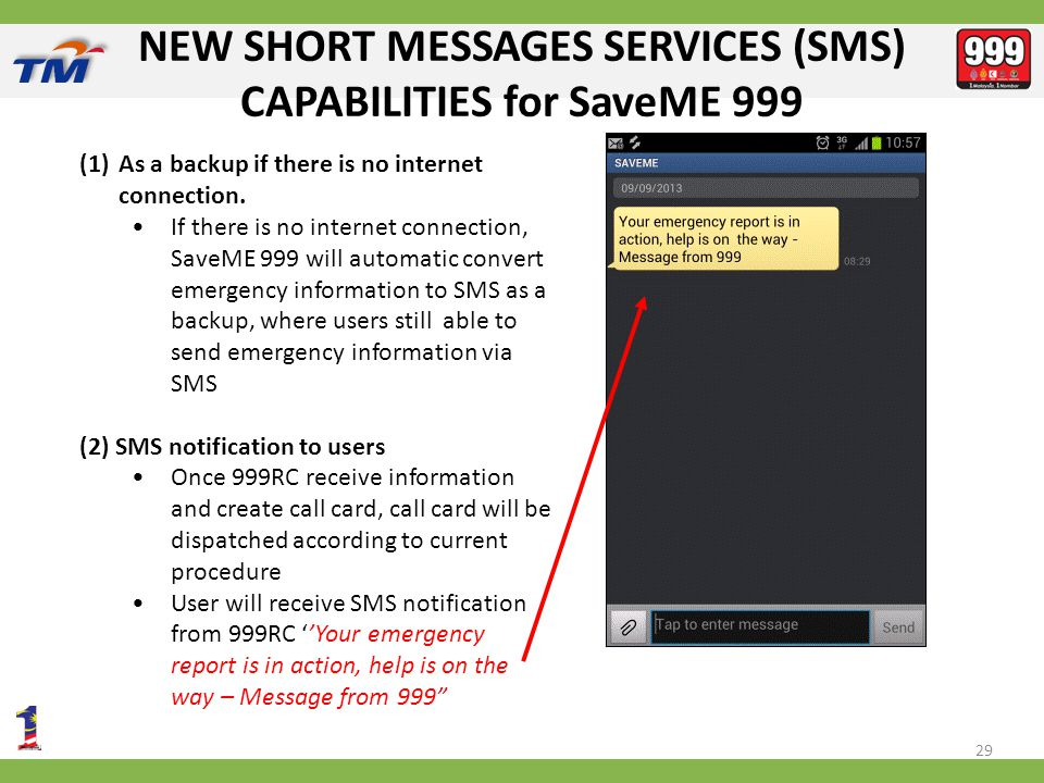 NEW SHORT MESSAGES SERVICES (SMS) CAPABILITIES for SaveME 999 29 (1)As a backup if there is no internet connection.