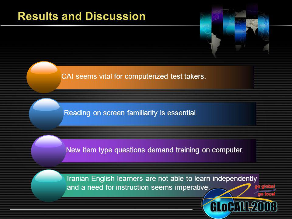 Results and Discussion CAI seems vital for computerized test takers. Reading on screen familiarity is essential. New item type questions demand traini