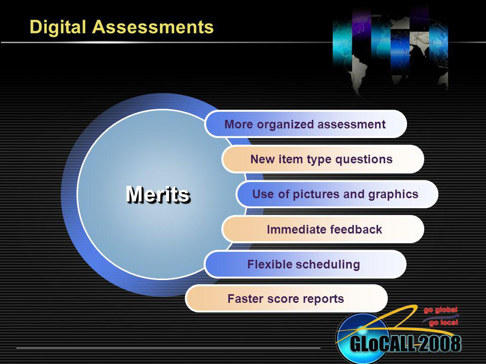 Digital Assessments More organized assessment New item type questions Use of pictures and graphics Immediate feedback Flexible scheduling MeritsMerits Faster score reports