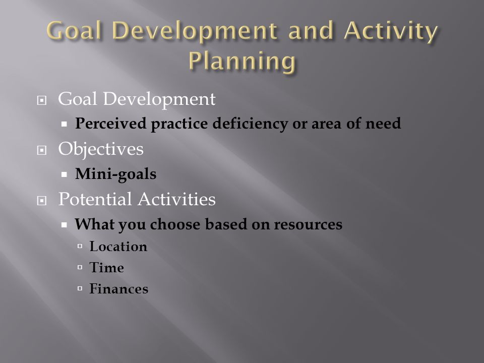 Goal Development Perceived practice deficiency or area of need Objectives Mini-goals Potential Activities What you choose based on resources Location Time Finances