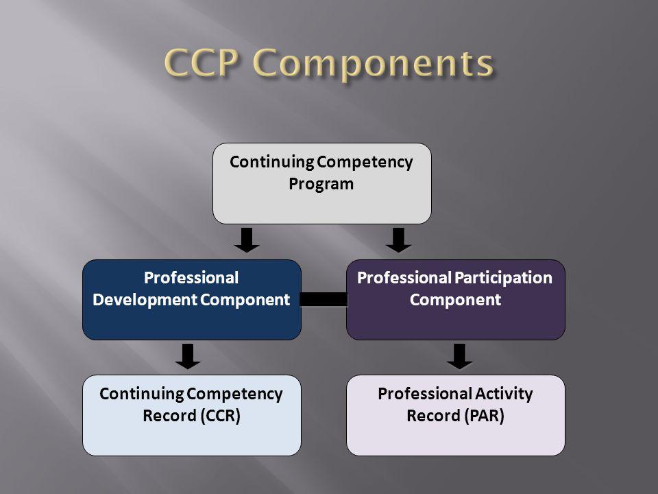 Continuing Competency Program Professional Development Component Professional Participation Component Continuing Competency Record (CCR) Professional Activity Record (PAR)