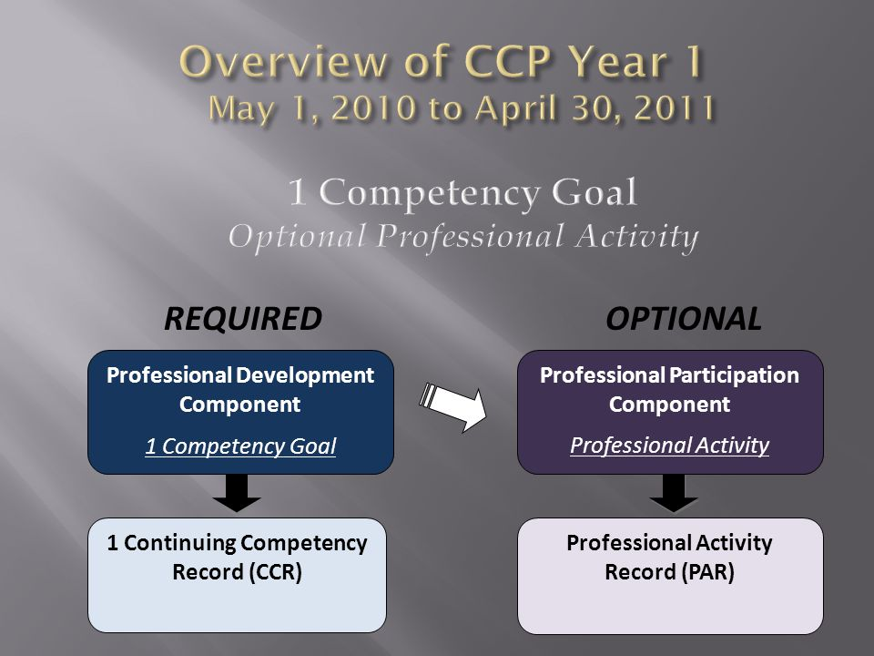 REQUIRED OPTIONAL Professional Development Component 1 Competency Goal 1 Continuing Competency Record (CCR) Professional Participation Component Professional Activity Professional Activity Record (PAR)