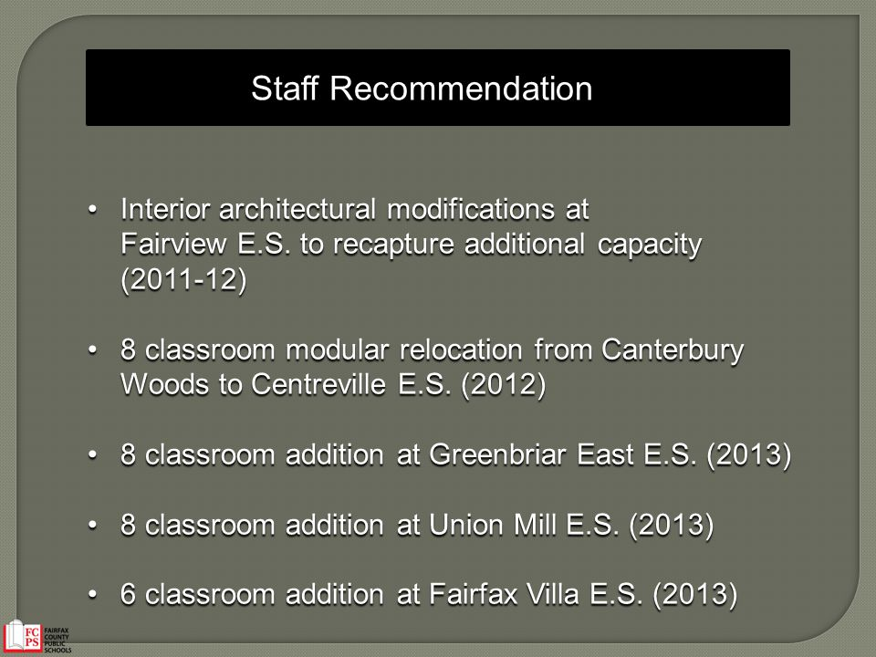 Staff Recommendation Interior architectural modifications atInterior architectural modifications at Fairview E.S. to recapture additional capacity (20