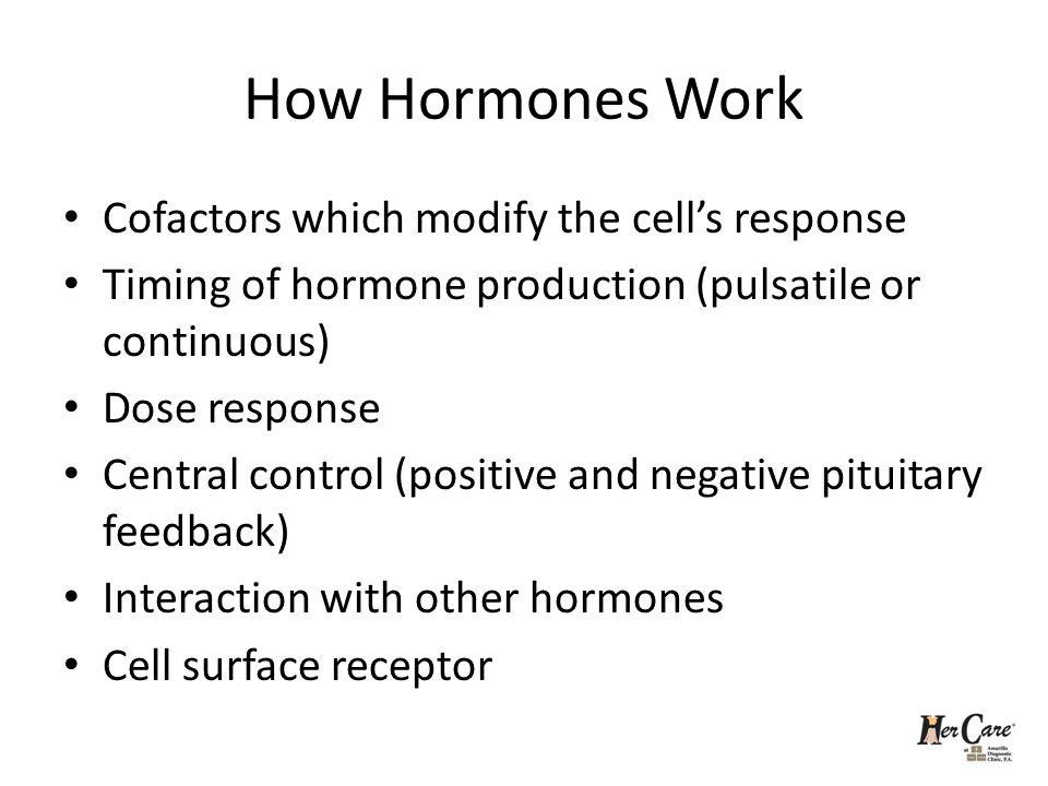 How Hormones Work Cofactors which modify the cells response Timing of hormone production (pulsatile or continuous) Dose response Central control (posi