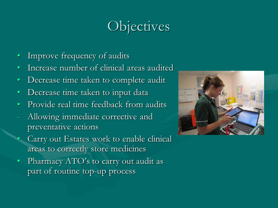 Objectives Improve frequency of auditsImprove frequency of audits Increase number of clinical areas auditedIncrease number of clinical areas audited Decrease time taken to complete auditDecrease time taken to complete audit Decrease time taken to input dataDecrease time taken to input data Provide real time feedback from auditsProvide real time feedback from audits -Allowing immediate corrective and preventative actions Carry out Estates work to enable clinical areas to correctly store medicinesCarry out Estates work to enable clinical areas to correctly store medicines Pharmacy ATOs to carry out audit as part of routine top-up processPharmacy ATOs to carry out audit as part of routine top-up process