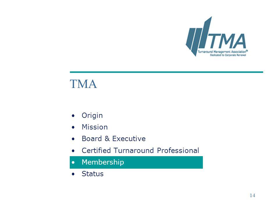 ©2004 Deloitte & Touche 14 TMA Origin Mission Board & Executive Certified Turnaround Professional Membership Status