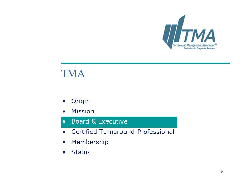 ©2004 Deloitte & Touche 9 TMA Origin Mission Board & Executive Certified Turnaround Professional Membership Status