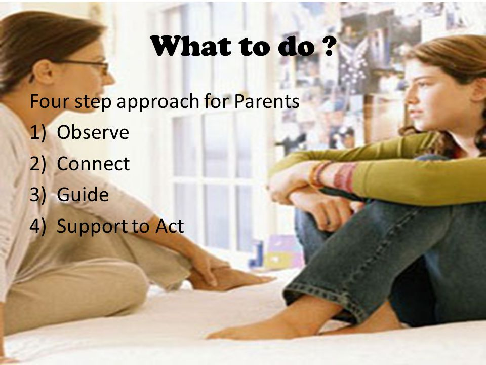 What to do ? Four step approach for Parents 1)Observe 2)Connect 3)Guide 4)Support to Act