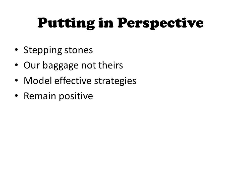 Putting in Perspective Stepping stones Our baggage not theirs Model effective strategies Remain positive