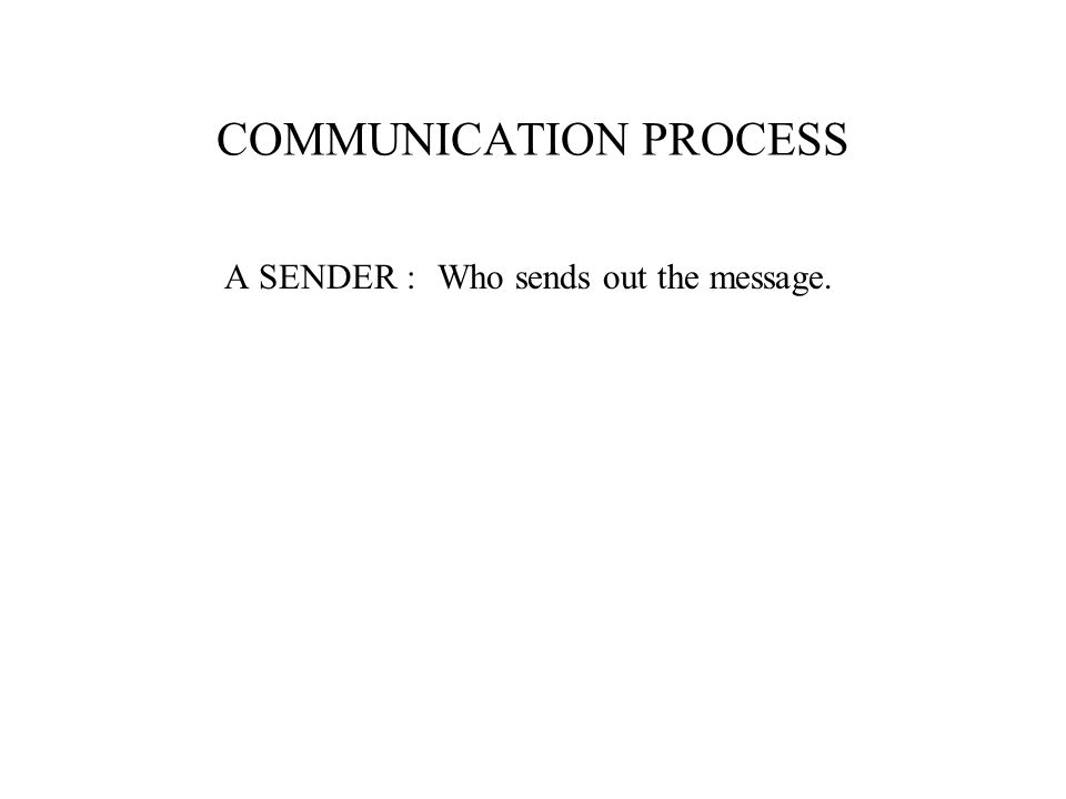 COMMUNICATION PROCESS A SENDER :Who sends out the message.