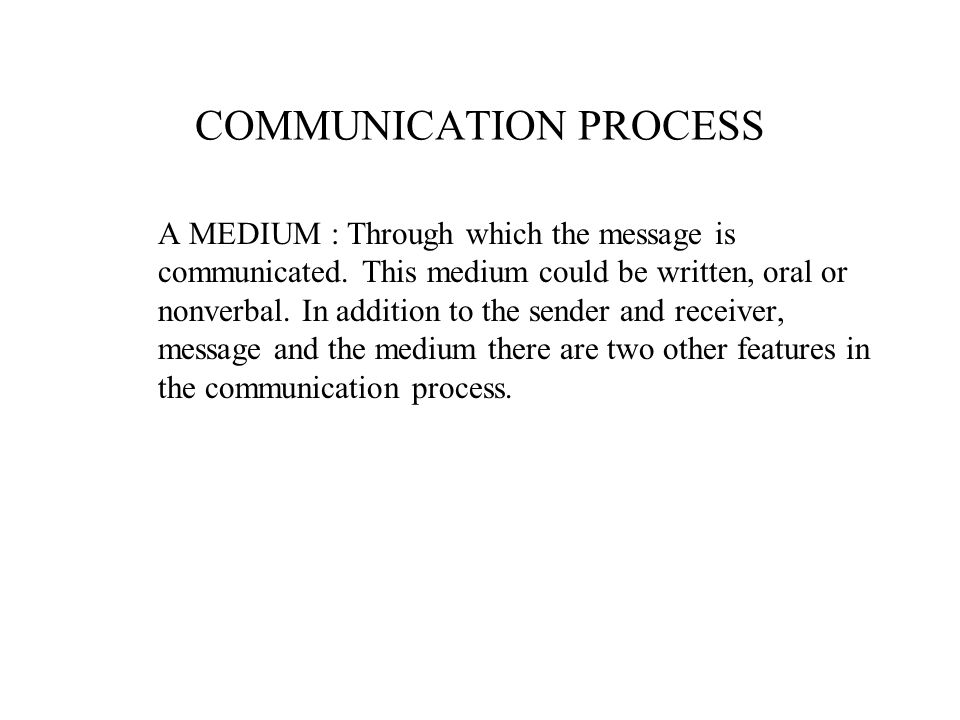 A MEDIUM : Through which the message is communicated. This medium could be written, oral or nonverbal. In addition to the sender and receiver, message