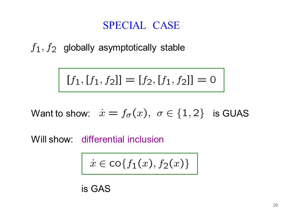 10 SPECIAL CASE globally asymptotically stable Want to show: is GUAS Will show: differential inclusion is GAS