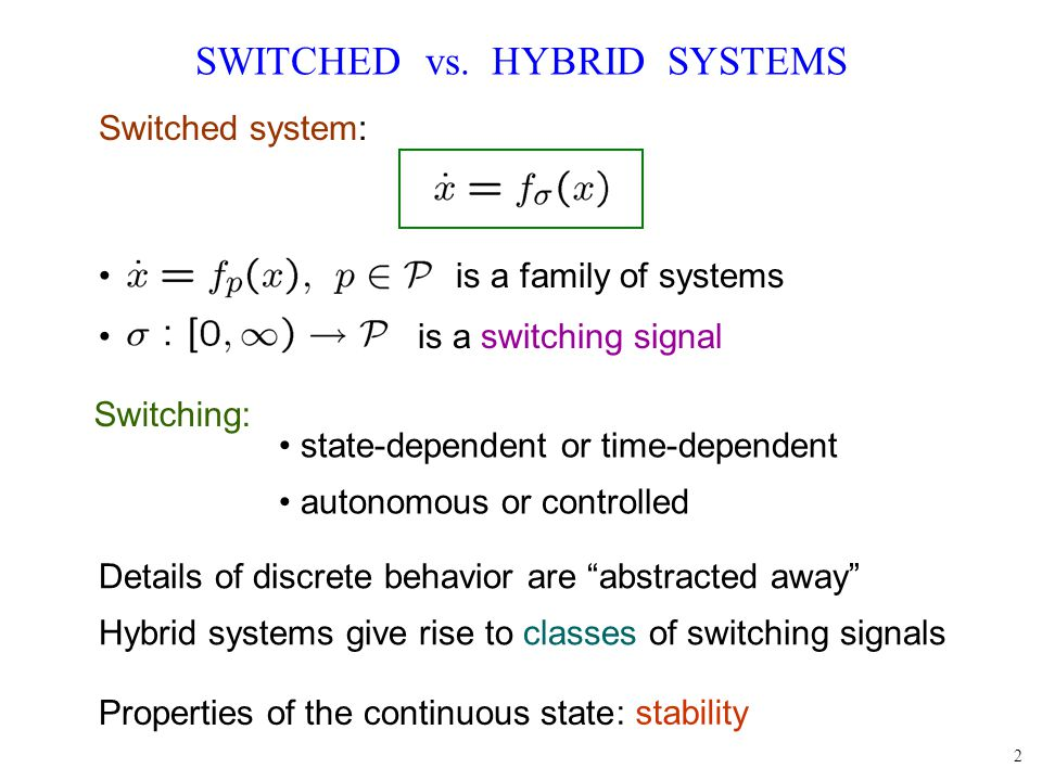 2 SWITCHED vs. HYBRID SYSTEMS : stability Switching: state-dependent or time-dependent autonomous or controlled Properties of the continuous state Swi