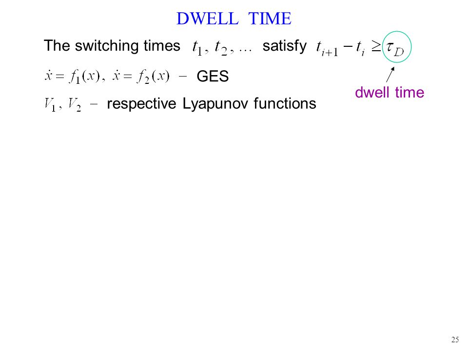 25 DWELL TIME The switching times satisfy dwell time GES respective Lyapunov functions